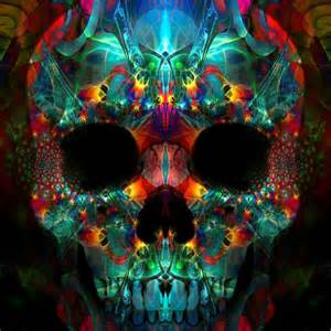 colorful skull trippy skull skulls