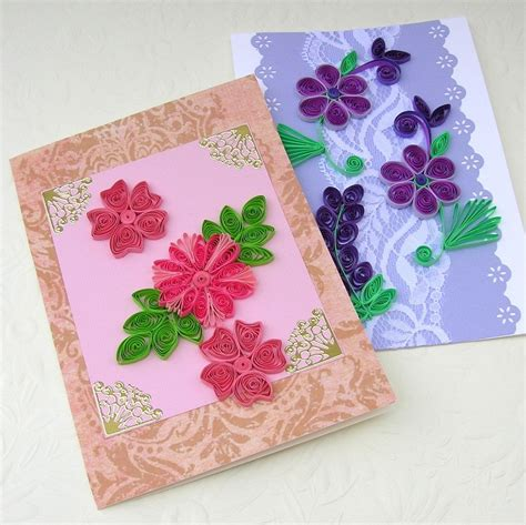 Handmade Paper Quilling Cards - sale quilling greeting cards paper quilled sale set of two