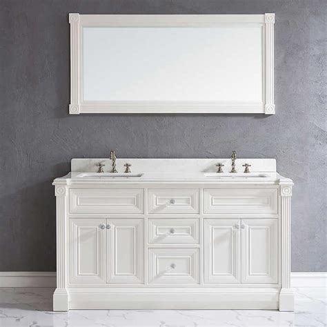 63 inch White Finish Double Sink Bathroom Vanity Cabinet