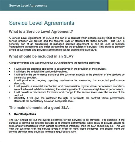 service level agreements templates service level agreement 8 free sles exles format