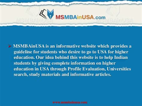 Post Mba In Usa by Ms Mba In Usa Higher Education In Abroad