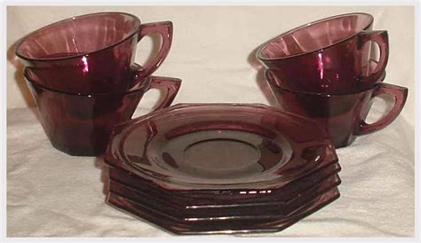 Octagon Amethyst Hq depression glass antique price guide
