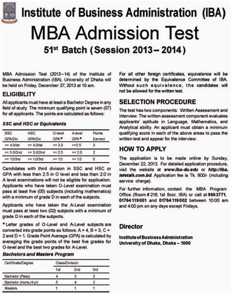 Mba Admit by Education Notice Iba Mba Admission Test 2013 2014