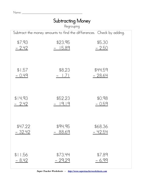 subtracting money worksheet 10 best images of money worksheets 4th grade 5th grade