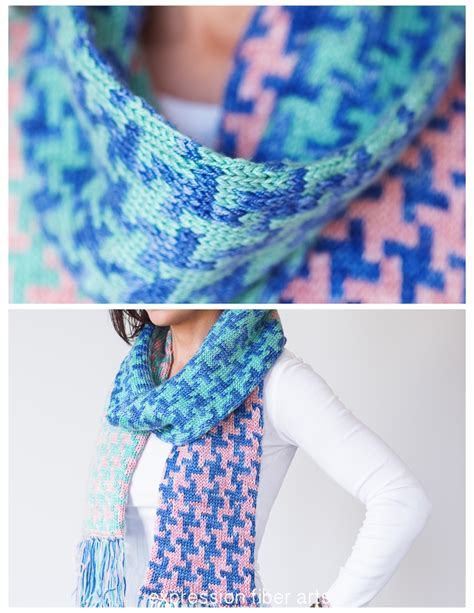 knitting pattern houndstooth scarf hello houndstooth knitted scarf pattern expression