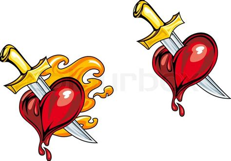 cartoon heart with medieval knife in retro style for