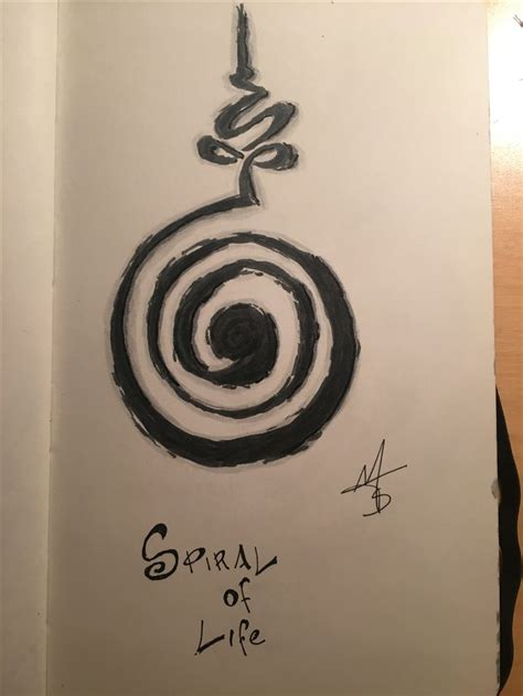 geometric tattoo spiral of life art greyart sketch
