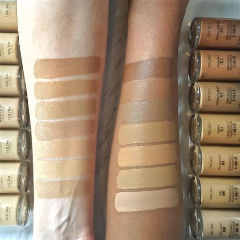 Milani Concealperfect 2 In 1 Foundation swatches of 14 shades of milani conceal 2 in 1 foundation concealer shown left arm