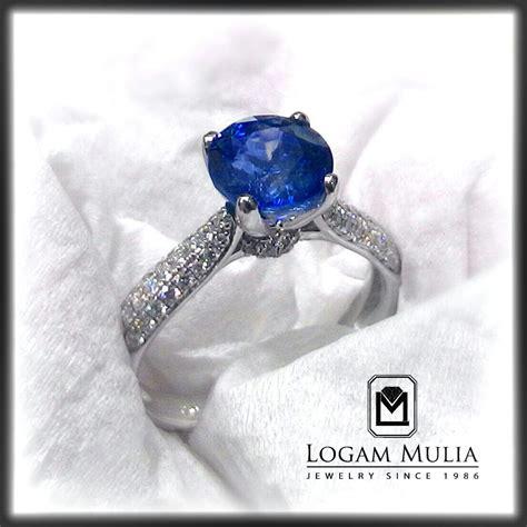 Cincin Mewah Safir Cylon Bertabur Berlian jual cincin berlian wanita dg blue sapphire arw rk r602428b setl logammuliajewelry