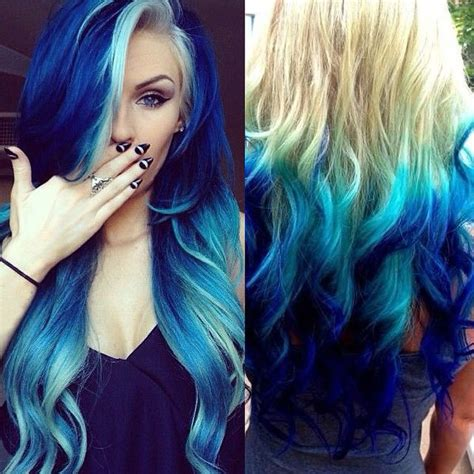 brown hair with blonde and blue highlights hot blue hair looks and ideas with 613a white blonde
