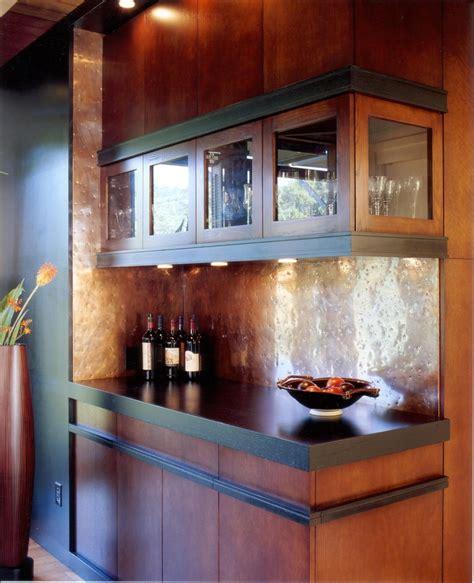 copper backsplash ideas home bar contemporary  bar