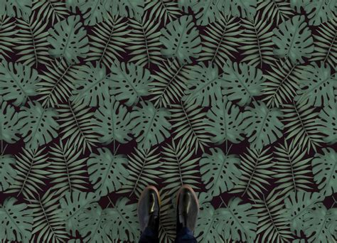 leaf pattern vinyl flooring monstera atrafloor