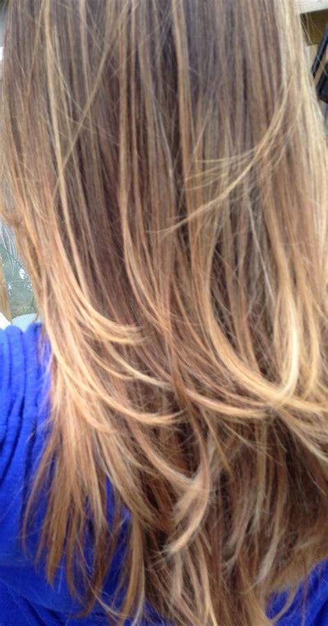 ombre brunette carmel ombr 233 on dark brown hair with carmel and blond high lights
