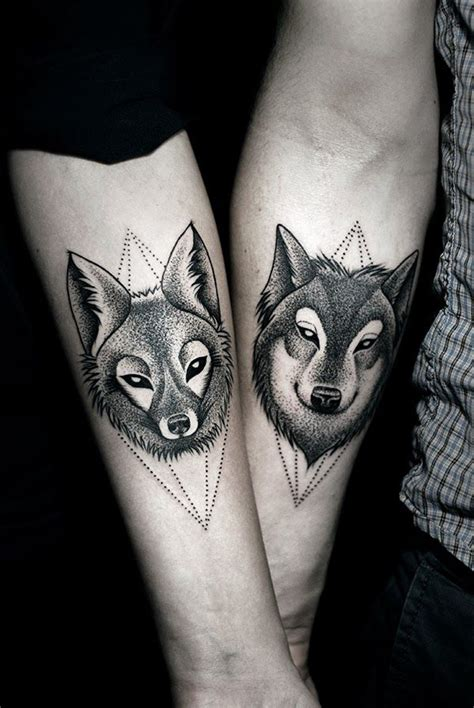 Wolf Tattoo Designs For Couples | dotwork wolf and fox couple tattoo best tattoo ideas gallery