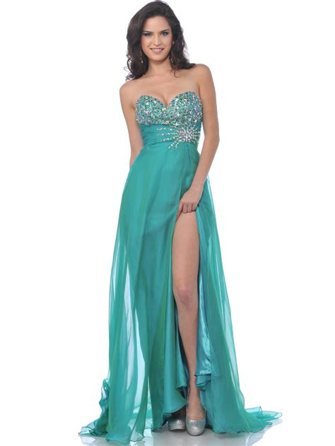 what is a slit l strapless embellished sweetheart prom dress with slit