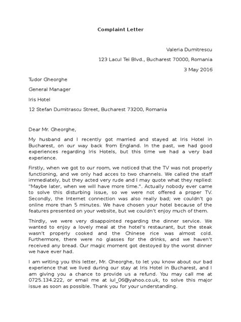 Water Complaint Letter In Letter Of Complaint Water Damage Complaint To Docshare Tips