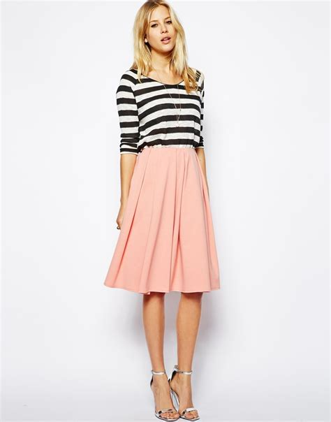 Rokmidi Rok lyst asos midi skirt in ponte with bold pleats in pink