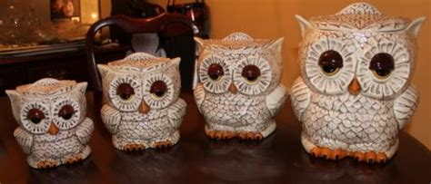 owl canisters for the kitchen vintage two sided ceramic owl canisters set of 4