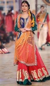 Red And Green Color Combination by Mehndi Dresses 2017 Royal Blue Deep Orange Red Lehenga