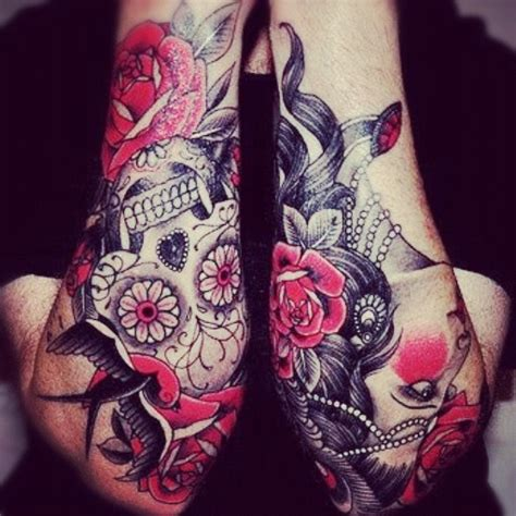 rose and skull sleeve tattoos on geometric tattoos eagle tattoos and