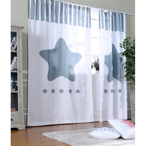 star nursery curtains white and gray star print polyester nursery curtains