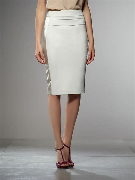 patrizia pepe high waisted pencil skirt in light stitched