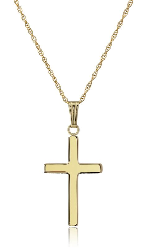 14k yellow gold solid polished cross pendant necklace 18 quot