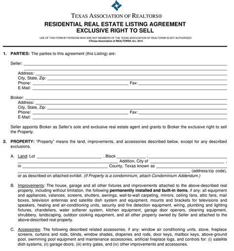 The Listing Agreement Para 1 And 2 Parties And Property Exclusive Right To Sell Agreement Template
