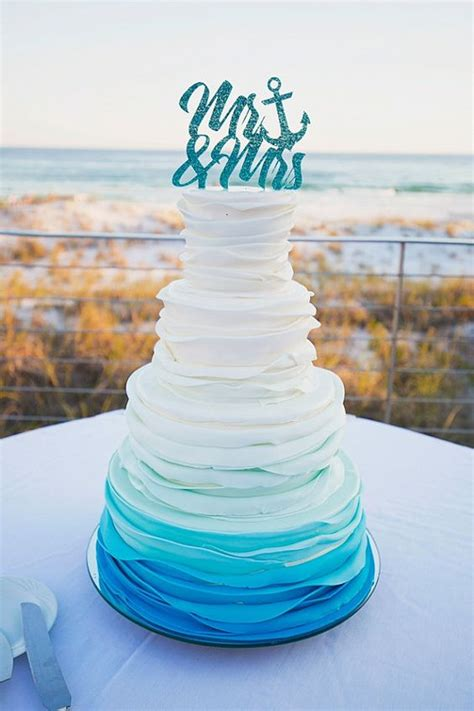 Dress Pink Biru Onde B022 picture of ruffle ombre wedding cake in shades of blue and