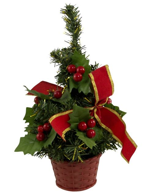 decorated red bow table top tree 25cm christmas trees