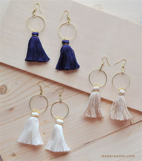 diy hoop tassel earrings    day