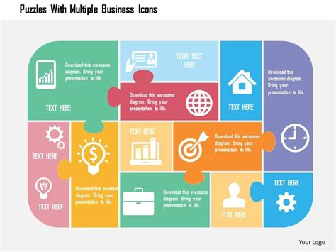 multiple themes in ppt puzzles with multiple business icons flat powerpoint