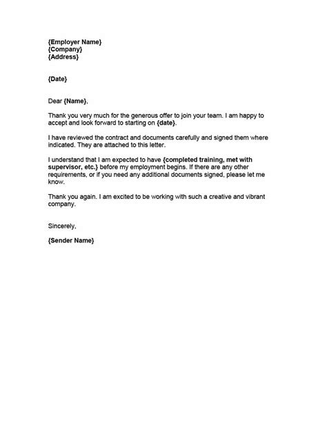 8 accepting a job offer sample email formal buisness letter