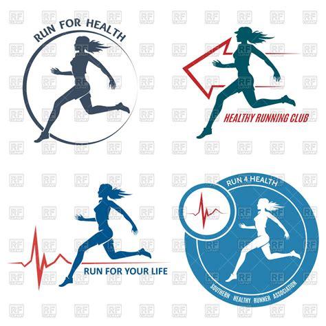 Emblem Logo Running healthy run emblem silhouette of running