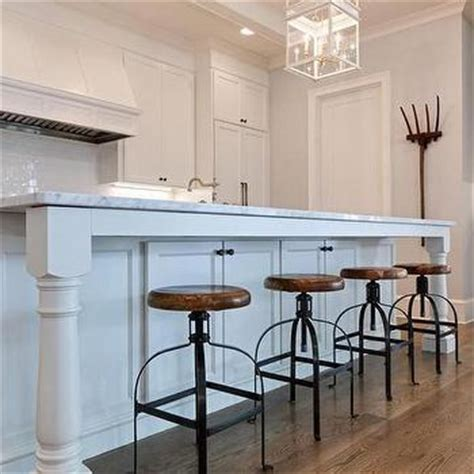 Kitchen Counter Legs Gray Wash Wood Island Stools Transitional Kitchen