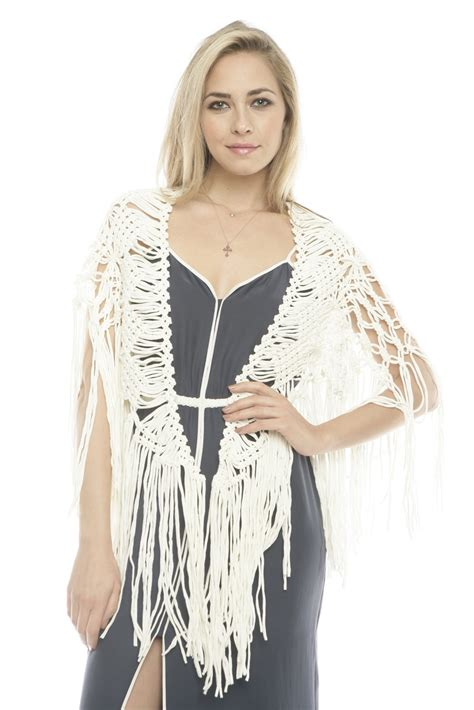 Macrame Shawl - peruvian atelier macrame scarf from dallas shoptiques