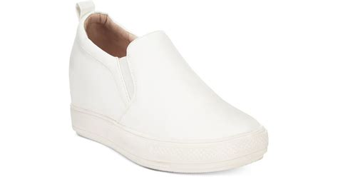 wanted pocono slip on wedge sneakers in white lyst
