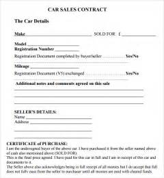 Agreement Of Sale Template For A Vehicle by Sales Contract Template 7 Free Pdf Doc