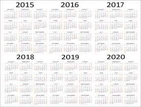 Years Calendar Calendar 5 Years Sle Printable Calendar