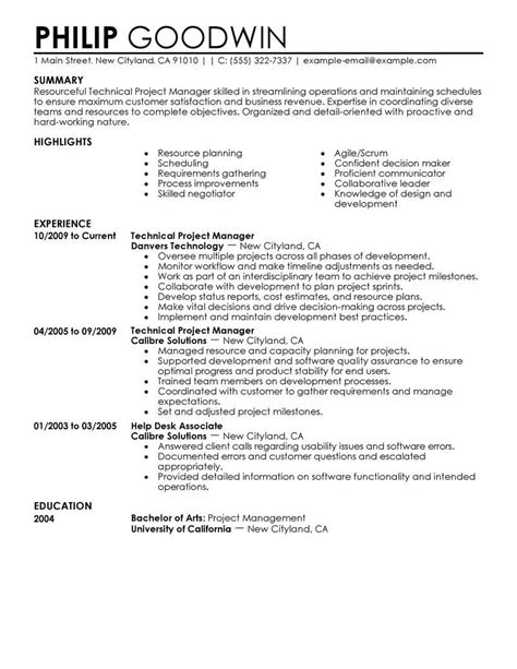 technical project manager resume exle computers