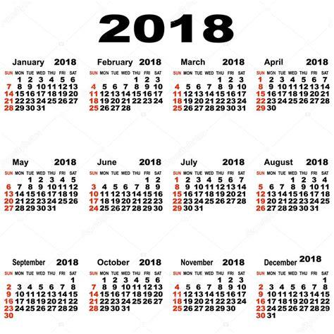 printable calendar 2018 europe european calendar of 2018 stock vector 169 liluly332201