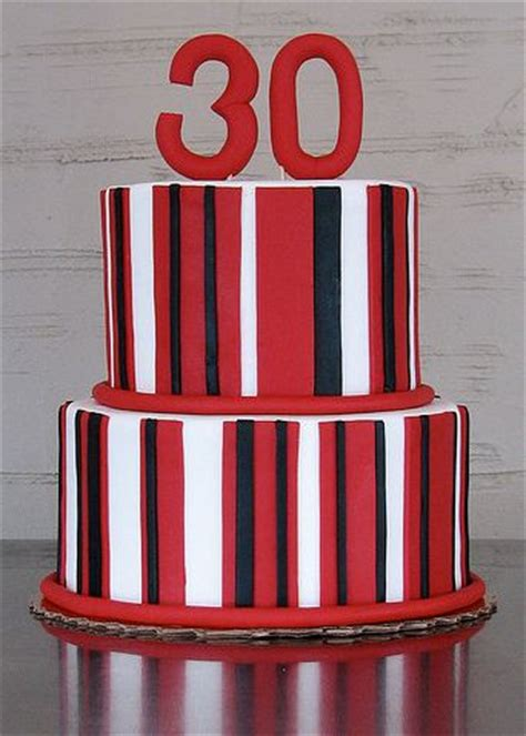 Two Tier Round  Ee  Birthday Ee   Cake With Red And Black And White