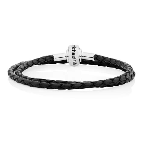 Charm 42cm black leather length 42cm 17 quot charm bracelet