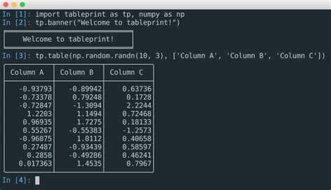 pretty tables github nirum tableprint pretty console printing of