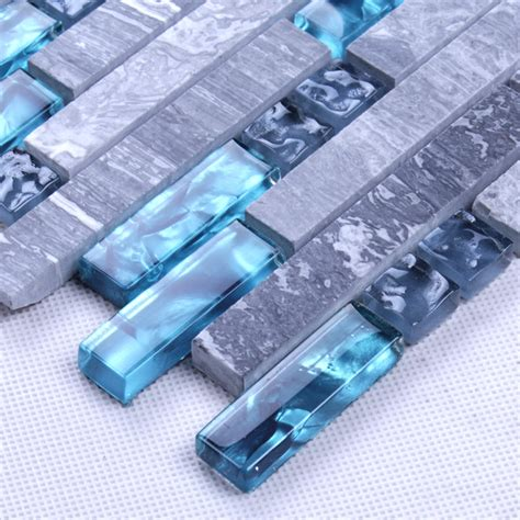 Glass Tile Designs For Kitchen Backsplash Blue Glass Stone Mosaic Wall Tiles Gray Marble Tile