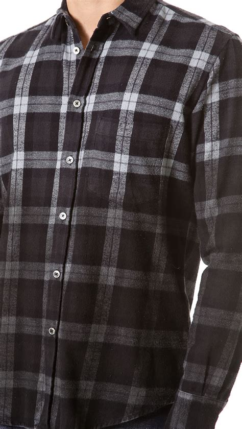 Kemeja Flannel Tartan Gradation Black 1 lyst school ombre plaid flannel shirt in black for