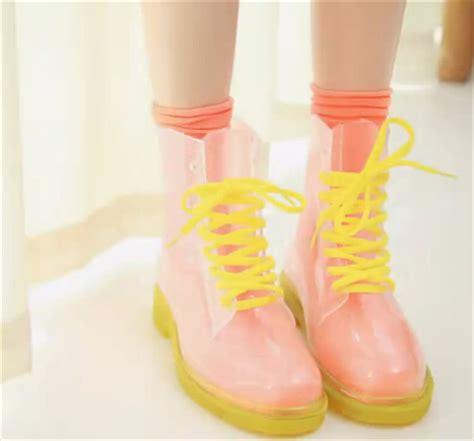Mieru Jelly Transparent Bag Orange 25 fashion sweet transparent jelly rubber boots
