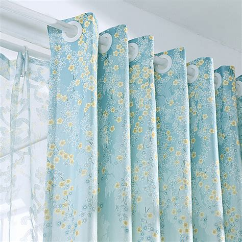 country blue curtains blue american country style jacquard material floral curtains
