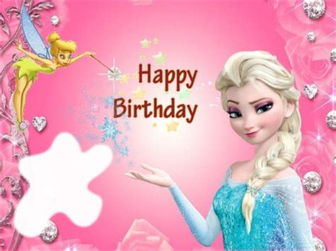 wallpaper frozen happy birthday photo montage happy birthday with tinkerbell elsa from