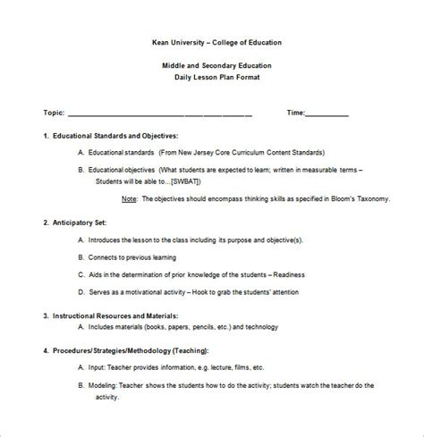 lesson plan template college teachers teacher lesson plan template 9 free sle exle